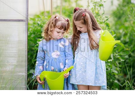 Two Adorable Girls Watering Plants At The Greenhouse With Watering Can Together, Little Sister Is Sa