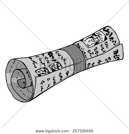Newspapers Rolled Up. Black And White Magazine With Pictures. Vector Illustration Of A Newspaper Wit