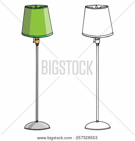 Lamp Icon. Vector Illustration Of A Floor Lamp. Hand Drawn Set Floor Lamp.