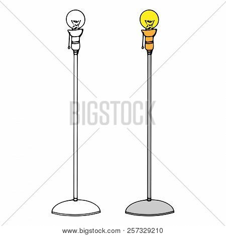 Lamp. Vector Illustration Of A Floor Lamp. Hand Drawn Floor Lamp Icon.