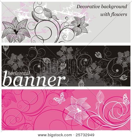 Set of horizontal vector banners with a flowers