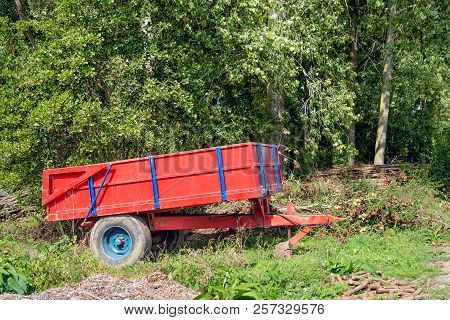 Red And Blue Painted Trailer / Tipper Parked On The Edge Of A Dutch Forest. In The Foreground And In