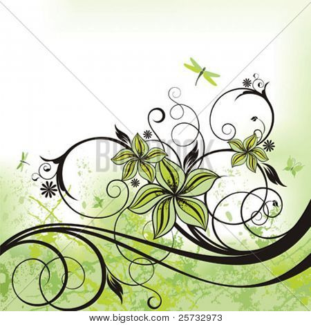 Decorative background with a pattern, flowers, butterflies and dragonflies