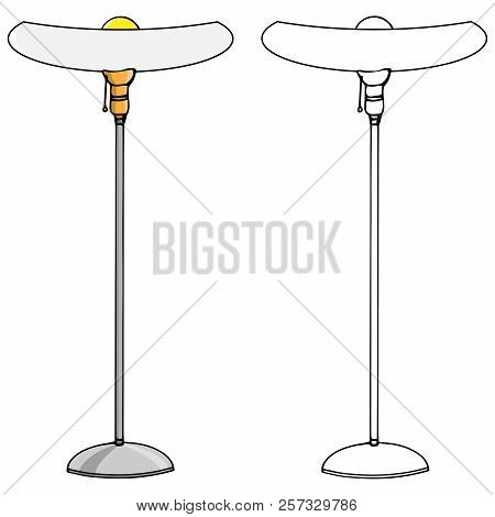 Lamp Icon. Vector Illustration Of A Floor Lamp. Hand Drawn Lamp Floor Lamp.