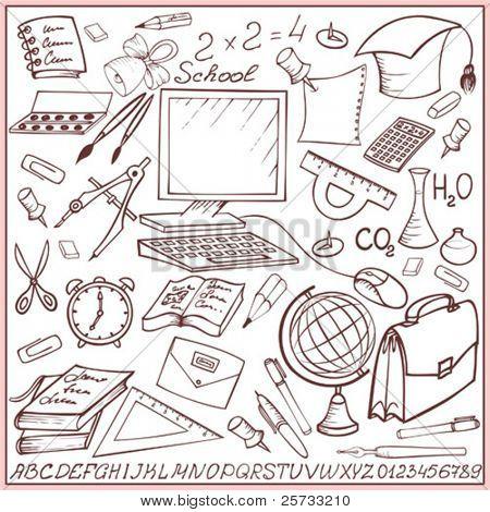 School and education sketch set (doodle)