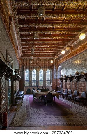 Cairo, Egypt - December 2 2017: Manial Palace Of Prince Mohammed Ali. Dining Room At The Residence B
