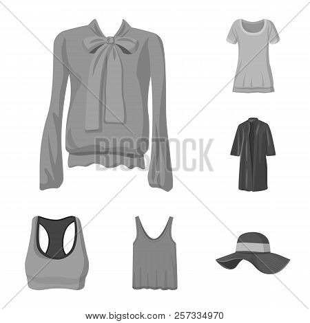 Isolated Object Of Woman And Clothing Sign. Collection Of Woman And Wear Stock Symbol For Web.