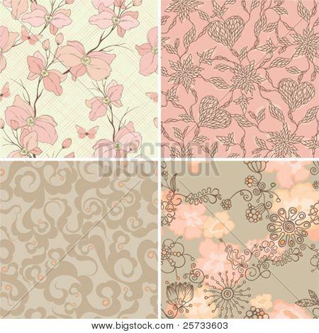 Set of seamless retro patterns