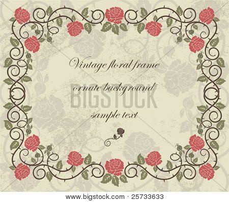 Vintage ornate frame with roses