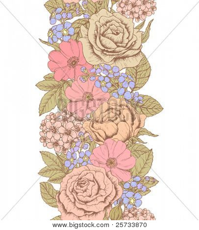 Seamless vertical pattern with a flowers