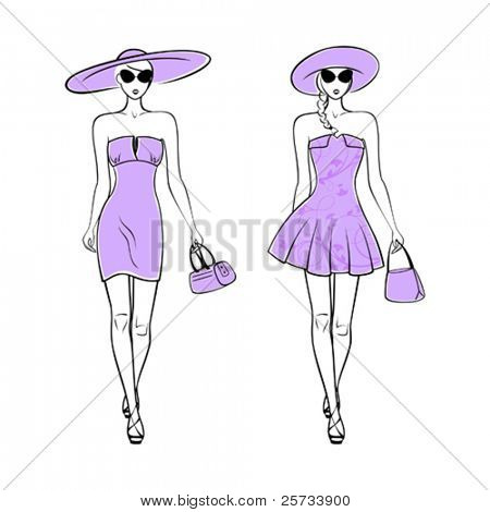 Silhouette of girls in hats, sun glasses, with a bag