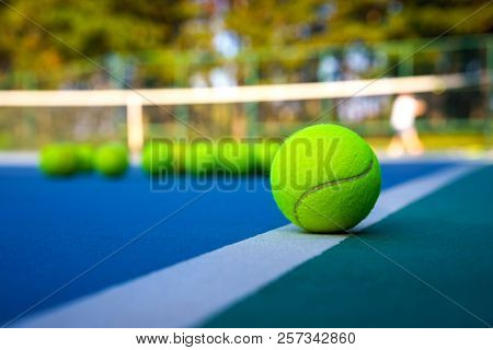 Close Up Tennis Ball On White Court Line On Hard Modern Blue Court With Net Balls Player Trees In Th