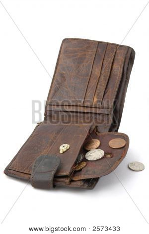 Old ragged purse wit cent coins. Symbol of abject poverty poster