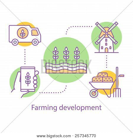 Farming Development Concept Icon. Agricultural Business Idea Thin Line Illustration. Agriculture. Ag