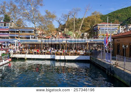 Istanbul, Turkey - November 10, 2013: Fish Restaurants By The Sea Side At Anadolu Kavagi Located Bes