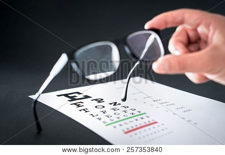 Optician Holding Glasses. Eyesight Test Chart In The Background. Eye Doctor Fixing And Repairing Spe