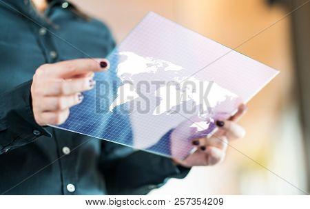 Modern Global And International Business Technology Concept. Businesswoman Using Futuristic Transpar
