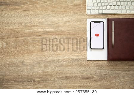 Alushta, Russia - August 26, 2018: Iphone X With Multinational Entertainment Company Google Provides