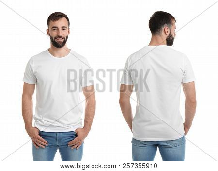Front And Back Views Of Young Man In Blank T-shirt On White Background. Mockup For Design