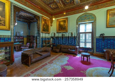 Cairo, Egypt - August 26 2018: Manial Palace Of Prince Mohammed Ali. Living Room At The Residence Bu