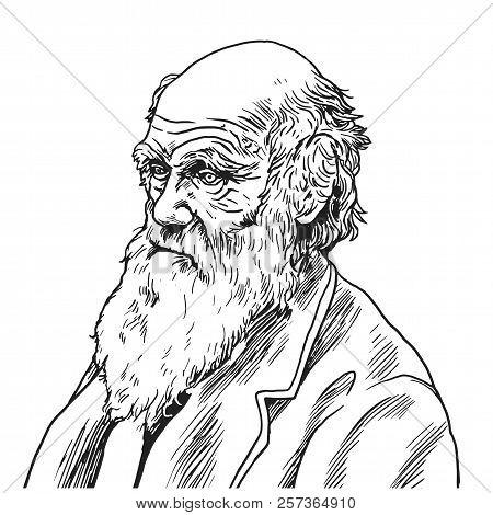 Charles Robert Darwin Vector Cartoon Caricature Illustration. September 9, 2018
