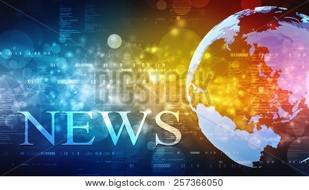 Words News On Digital Background, Technology Background, News Background