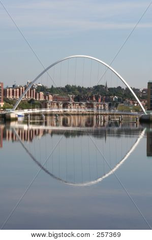 gateshead millennium bridge reflected in the river tyne poster