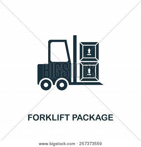 Forklift Package Icon. Monochrome Style Design From Logistics Delivery Icon Collection. Ui. Pixel Pe