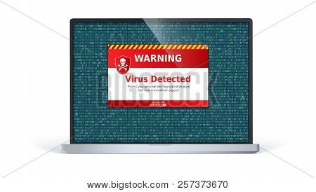 Laptop Screen With Alert Message Of Virus Detected. Warning Message On Computer Screen Isolated On W