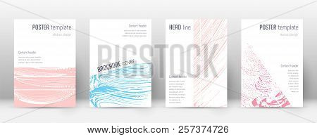 Cover Page Design Template. Geometric Brochure Layout. Bold Trendy Abstract Cover Page. Pink And Blu