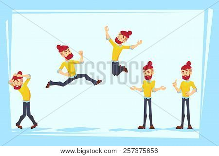 Business Man Characters. Adult Hipster In Casual Clothes. Emotions And Expressions, Pose. Vector Car