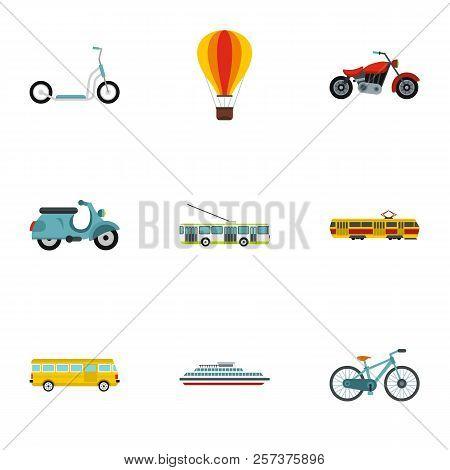 Transport Icons Set. Flat Illustration Of 9 Transport Icons For Web