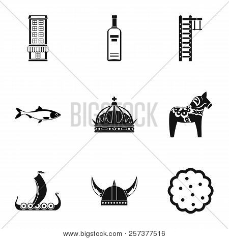 Tourism In Sweden Icons Set. Simple Illustration Of 9 Tourism In Sweden Icons For Web