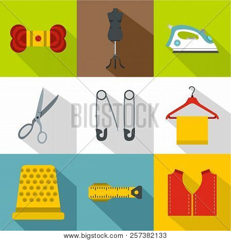 Range Of Tools For Dressmakers Icons Set. Flat Illustration Of 9 Range Of Tools For Dressmakers Icon