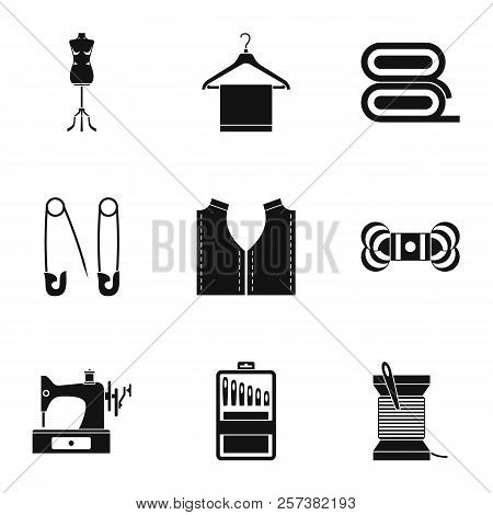 Range Of Tools For Dressmakers Icons Set. Simple Illustration Of 9 Range Of Tools For Dressmakers Ic