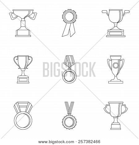 Win Icons Set. Outline Illustration Of 9 Win Icons For Web