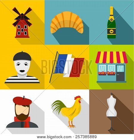 Tourism In France Icons Set. Flat Illustration Of 9 Tourism In France Icons For Web