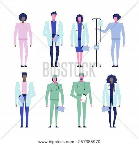 Online Help Consultation Web Service Doctor Characters Set, Modern Flat Design Healthcare Medicine C