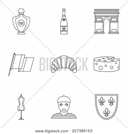 Tourism In France Icons Set. Outline Illustration Of 9 Tourism In France Icons For Web