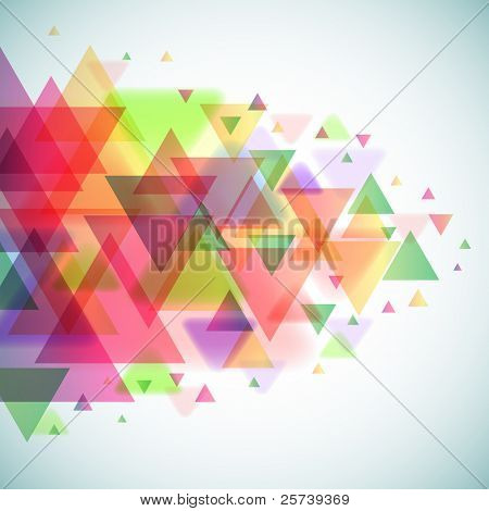 Abstract colorful triangles vector background. poster