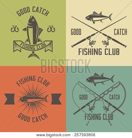 Fishing Club Set Of Vector Vintage Labels, Badges, Emblems, Fishing Rod, Tuna, Fishing Hook, Fishing
