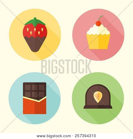 Set of sweets and confection flat design round icons with long shadow, chocolate bar, cupcake, strawberry, candy poster