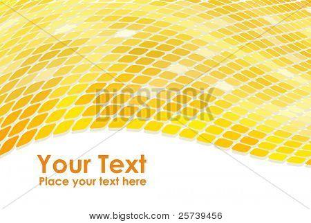 3D golden mosaic wave background.