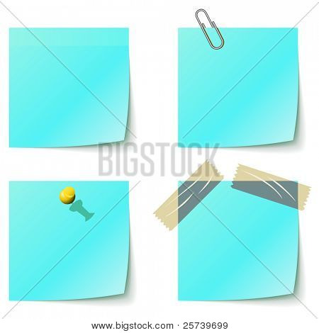 Blue sticky notice papers isolated on white.