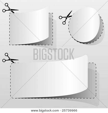 Blank white advertising coupon cut from sheet of paper. poster
