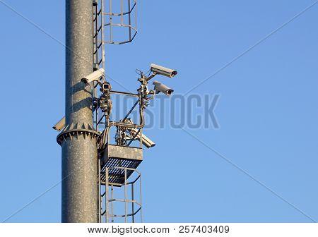 Light Pole Whith Security Camera .cctv Video Surveillance