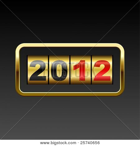 Golden counter 2012 year card.