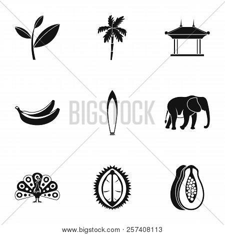 Tourism In Sri Lanka Icons Set. Simple Illustration Of 9 Tourism In Sri Lanka Icons For Web