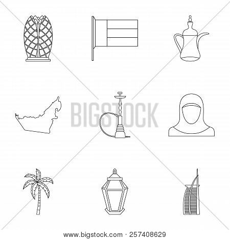 Tourism In Uae Icons Set. Outline Illustration Of 9 Tourism In Uae Icons For Web