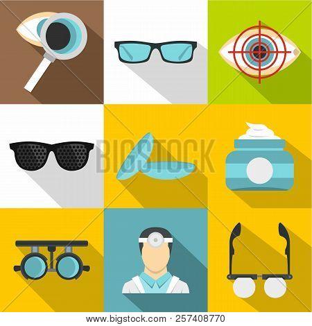 Eye Exam Icons Set. Flat Illustration Of 9 Eye Exam Icons For Web